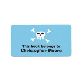 Cartoon skull pirate blue bookplate book plates custom address labels