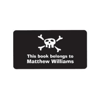 Cartoon skull pirate flag bookplate book plates custom address label