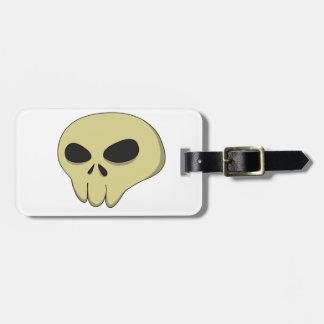 Cartoon skull sepia bag tag
