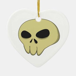 Cartoon skull sepia ceramic ornament