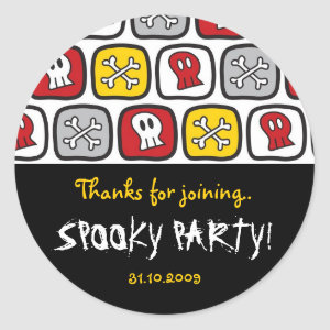 Cartoon Skulls and Bones Halloween Party Seal Round Stickers