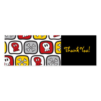 Cartoon Skulls and Bones Thank You Gift Favor Tag Double-Sided Mini Business Cards (Pack Of 20)