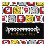 "Cartoon Skulls & Bones Halloween Party Invitation 5.25"" Square Invitation Card"