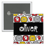 Cartoon Skulls & Bones Halloween Party Name Tag 2 Inch Square Button