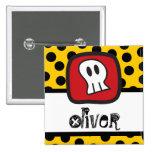 Cartoon Skulls & Bones Halloween Party Name Tag Pinback Buttons
