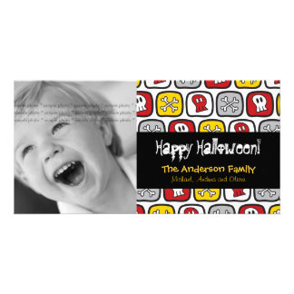 Cartoon Skulls Bones Happy Halloween Photo Card