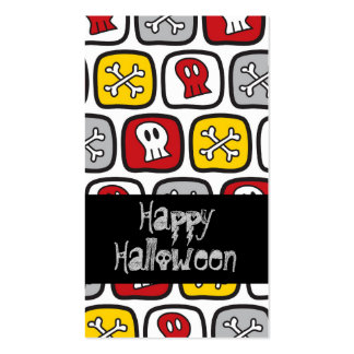 Cartoon Skulls & Bones Thank You Favor Gift Tag Business Cards