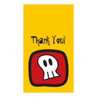 Cartoon Skulls & Bones Thank You Favor Gift Tag Double-Sided Standard Business Cards (Pack Of 100)