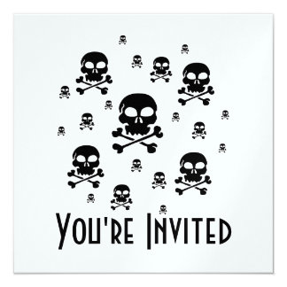 Cartoon Skulls Collage - Black & White Card