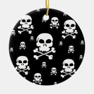 Cartoon Skulls Collage - Black & White Ceramic Ornament