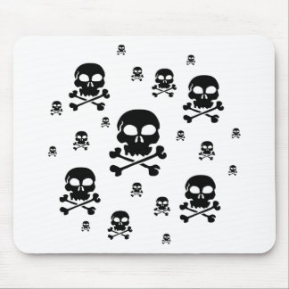 Cartoon Skulls Collage - Black & White Mouse Pad