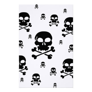 Cartoon Skulls Collage - Black & White Stationery