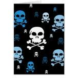 Cartoon Skulls Collage - Blue Card