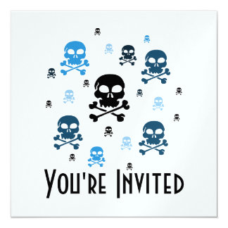 Cartoon Skulls Collage - Blue Card