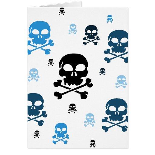 Cartoon Skulls Collage - Blue Greeting Card