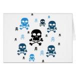 Cartoon Skulls Collage - Blue Greeting Cards