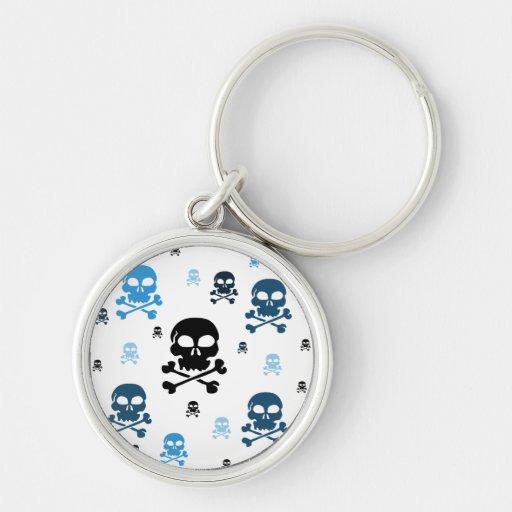 Cartoon Skulls Collage - Blue Keychains