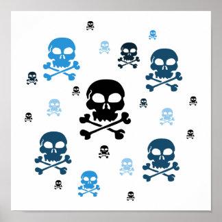 Cartoon Skulls Collage - Blue Poster