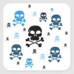 Cartoon Skulls Collage - Blue Square Sticker