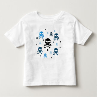 Cartoon Skulls Collage - Blue Toddler T-shirt