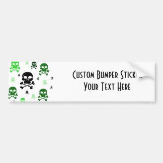 Cartoon Skulls Collage - Green Bumper Sticker
