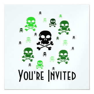 Cartoon Skulls Collage - Green Card