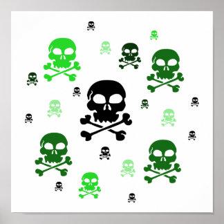 Cartoon Skulls Collage - Green Poster