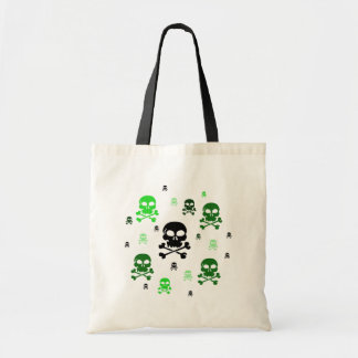 Cartoon Skulls Collage - Green Tote Bag