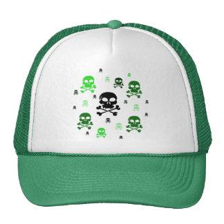 Cartoon Skulls Collage - Green Trucker Hat