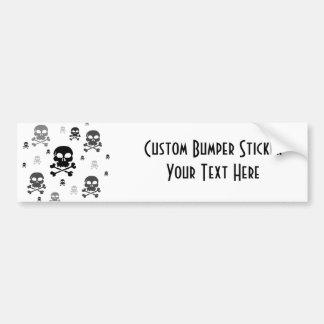 Cartoon Skulls Collage - Greyscale Bumper Sticker