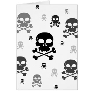 Cartoon Skulls Collage - Greyscale Card