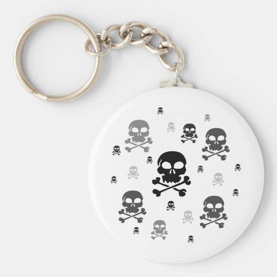 Cartoon Skulls Collage - Greyscale Keychain