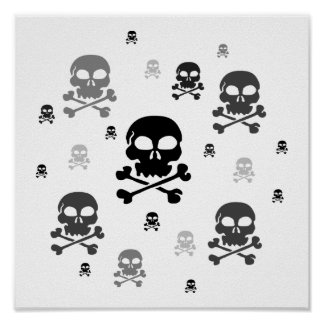 Cartoon Skulls Collage - Greyscale Posters