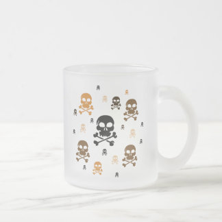 Cartoon Skulls Collage - Orange Frosted Glass Coffee Mug