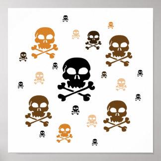 Cartoon Skulls Collage - Orange Print