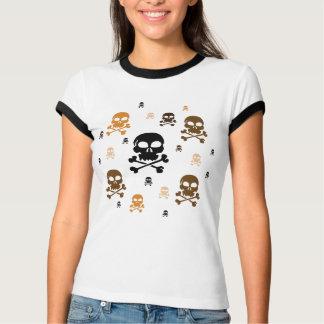 Cartoon Skulls Collage - Orange T-Shirt