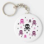 Cartoon Skulls Collage - Pink Basic Round Button Keychain