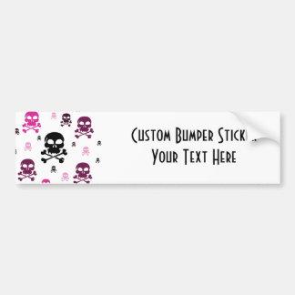 Cartoon Skulls Collage - Pink Car Bumper Sticker