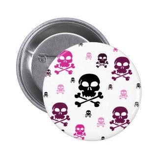 Cartoon Skulls Collage - Pink Button