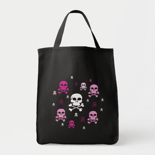 Cartoon Skulls Collage - Pink Canvas Bags