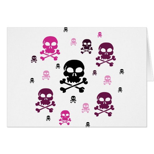 Cartoon Skulls Collage - Pink Card