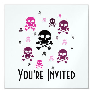 Cartoon Skulls Collage - Pink Card
