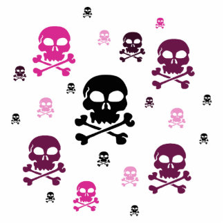 Cartoon Skulls Collage - Pink Cutout