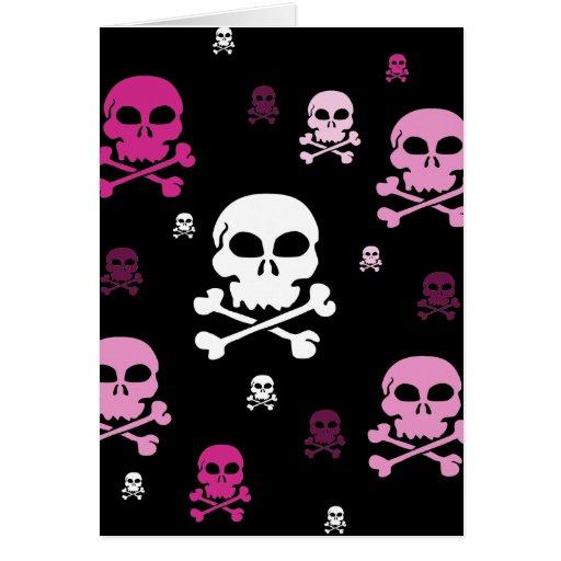 Cartoon Skulls Collage - Pink Greeting Card