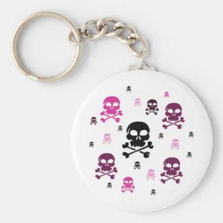 Cartoon Skulls Collage - Pink Keychain