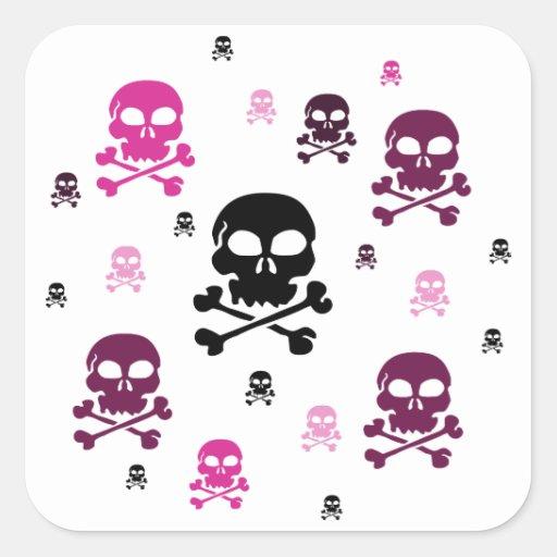 Cartoon Skulls Collage - Pink Square Sticker