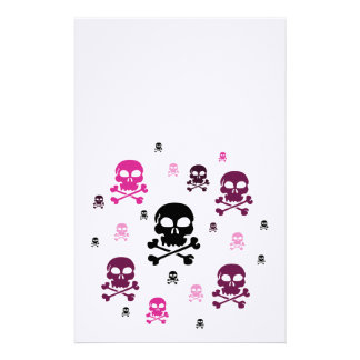 Cartoon Skulls Collage - Pink Stationery Design