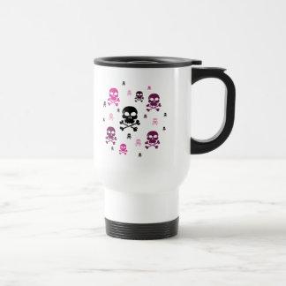 Cartoon Skulls Collage - Pink Travel Mug