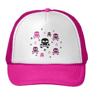 Cartoon Skulls Collage - Pink Trucker Hat