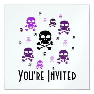 Cartoon Skulls Collage - Purple Card